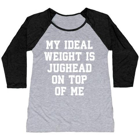 Virgin Teez  Baseball Tee Women's Tri-Blend Baseball Tee / small / Athletic Gray / Black MY IDEAL WEIGHT IS JUGHEAD ON TOP OF ME WOMEN'S TRI-BLEND BASEBALL TEE