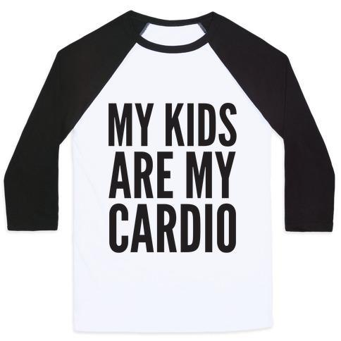 Virgin Teez  Baseball Tee Unisex Classic Baseball Tee / x-small / White/Black MY KIDS ARE MY CARDIO UNISEX CLASSIC BASEBALL TEE