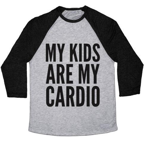 Virgin Teez  Baseball Tee Unisex Tri-Blend Baseball Tee / small / Athletic Gray / Black MY KIDS ARE MY CARDIO UNISEX TRI-BLEND BASEBALL TEE