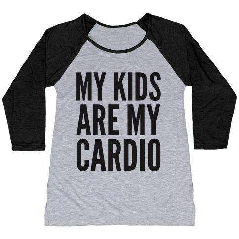 Virgin Teez  Baseball Tee Women's Tri-Blend Baseball Tee / small / Athletic Gray / Black MY KIDS ARE MY CARDIO WOMEN'S TRI-BLEND BASEBALL TEE
