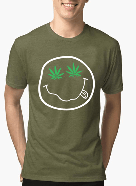 Virgin Teez T-shirt SMALL / Green Nirvana Smile Half Sleeves Melange T-shirt