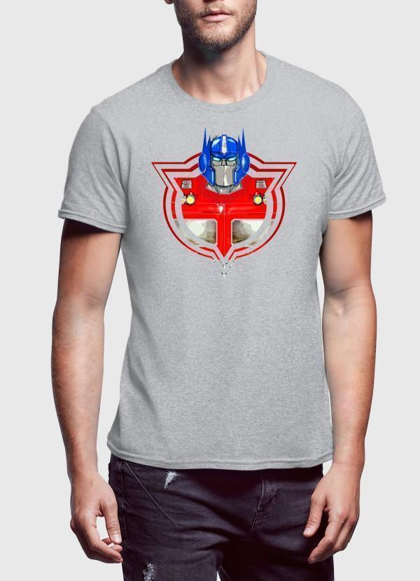 M Nidal Khan T-Shirt Optimus Badge Heather Gray Half Sleeves