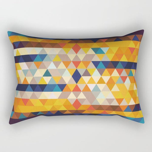 The Pillow pillows Orange & Blue Triangles Rectangle Pillow