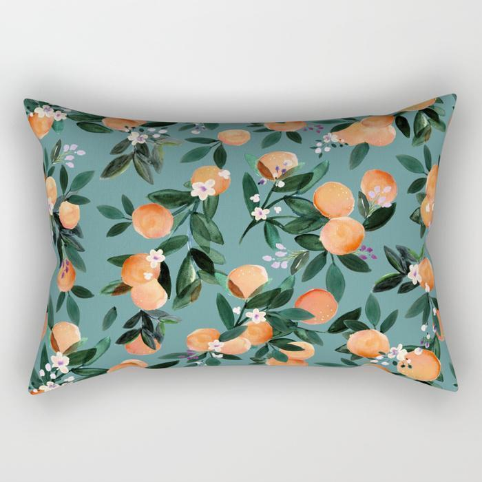 The Pillow pillows Orange Floral Rectangle Pillow