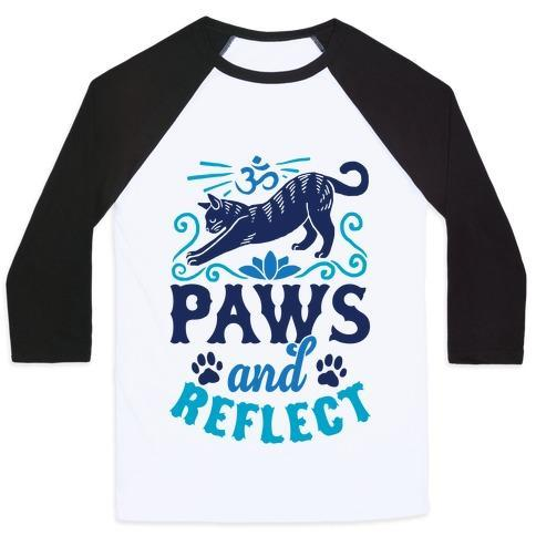 Virgin Teez  Baseball Tee Unisex Classic Baseball Tee / x-small / White/Black PAWS AND REFLECT (CAT) UNISEX CLASSIC BASEBALL TEE