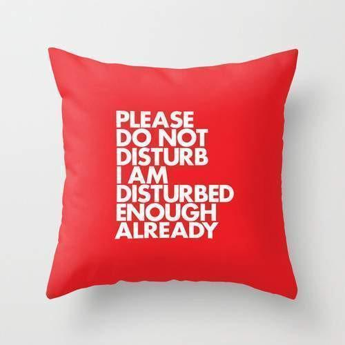 The Pillow pillows PLEASE DO NOT DISTURB I AM DISTURBED ENOUGH ALREADY Pillow