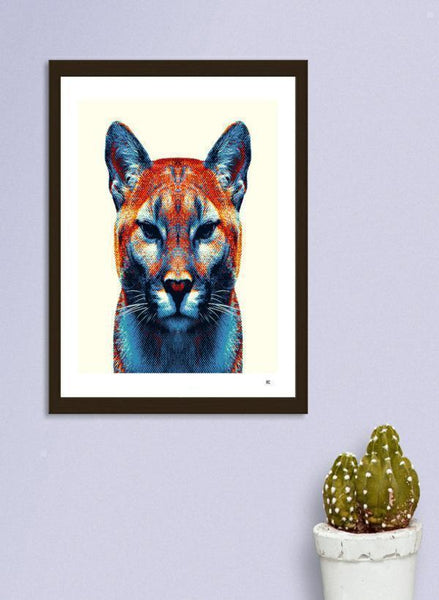 LUVD Framed Art Prints Puma - Colorful Animals  Frame
