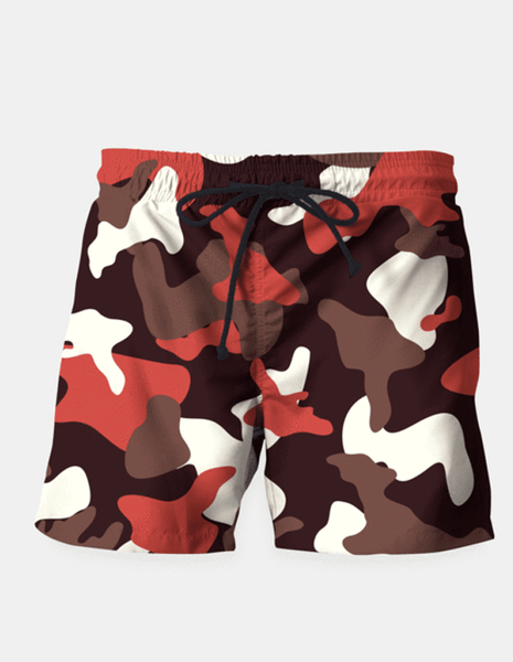 "Maria Shorts SMALL (28""-18"") / us Red Camouflage Army Pattern Swim Shorts"
