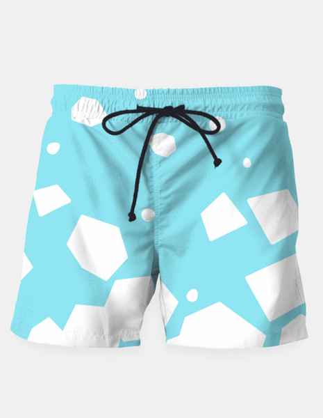 "Maria Shorts SMALL (28""-18"") / us Rockery on Blue Swim Shorts"