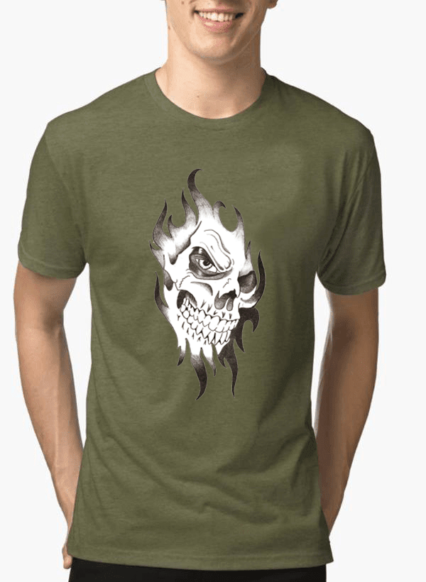 Aneeq Arshad T-shirt SMALL / Green Skull Sketch Half Sleeves Melange T-shirt