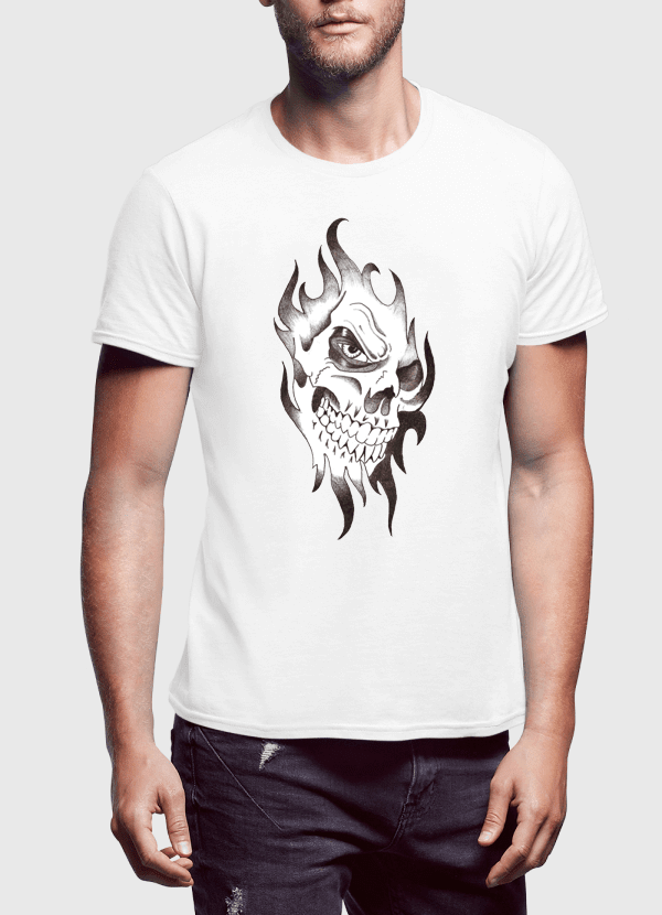 Aneeq Arshad T-shirt SMALL / White Skull Sketch Half Sleeves T-shirt