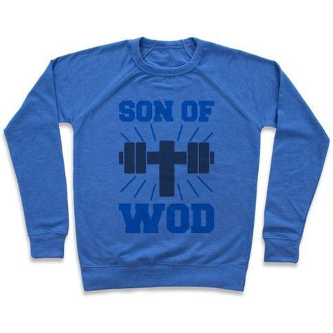 Virgin Teez  Pullover Crewneck Sweatshirt / x-small / Heathered Blue SON OF WOD CREWNECK SWEATSHIRT