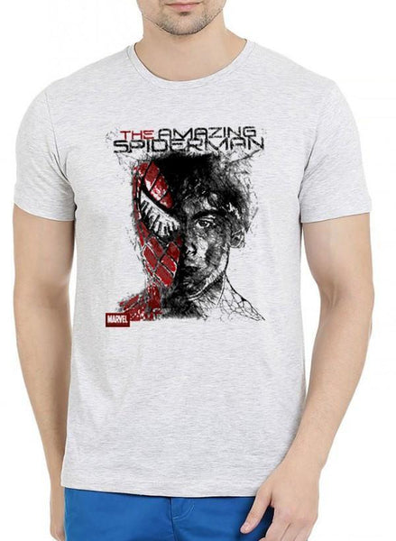 M Nidal Khan T-shirt SMALL / Offwhite Spider Man Half Sleeves Melange T-shirt