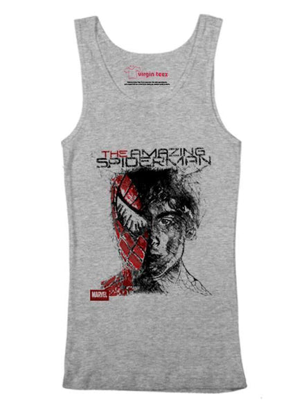 M Nidal Khan Tank Top SMALL / Gray Spider Man Tank Top