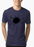 Aneeq Arshad T-shirt SMALL / Navy Splatter Half Sleeves Melange T-shirt