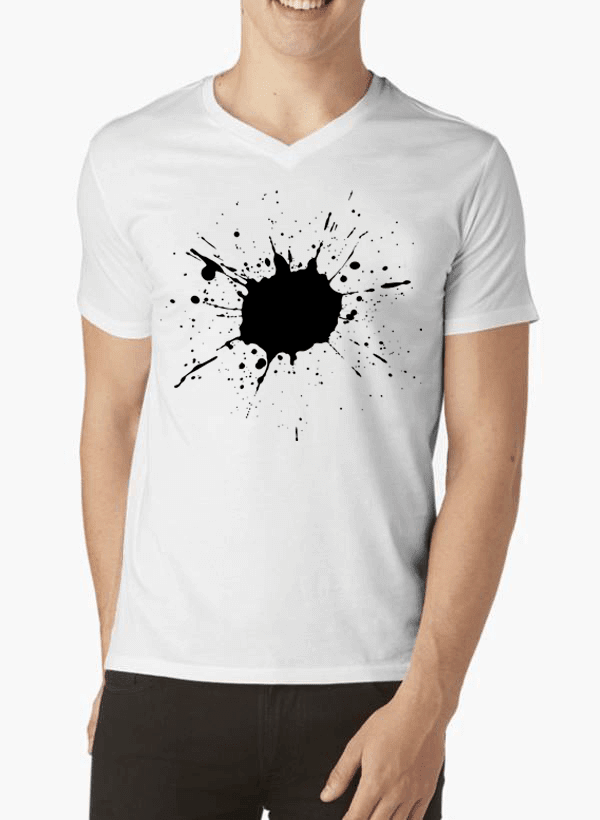 Aneeq Arshad T-shirt SMALL / White Splatter Half Sleeves V-Neck T-shirt