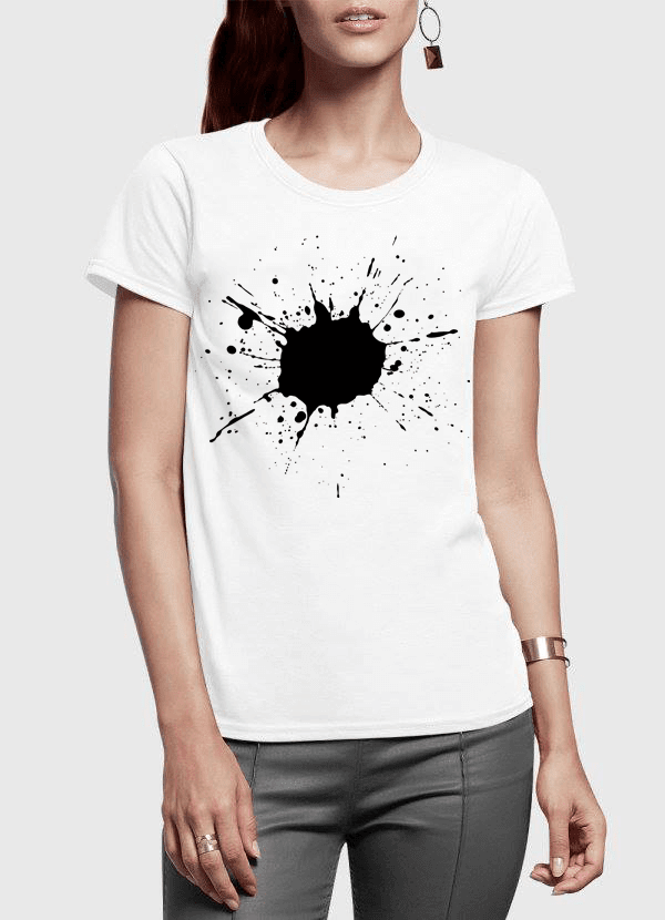 Aneeq Arshad Women T-Shirt SMALL / White Splatter Half Sleeves Women T-shirt