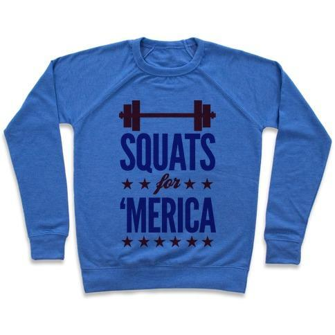 Virgin Teez  Pullover Crewneck Sweatshirt / x-small / Heathered Blue SQUATS FOR MERICA CREWNECK SWEATSHIRT""