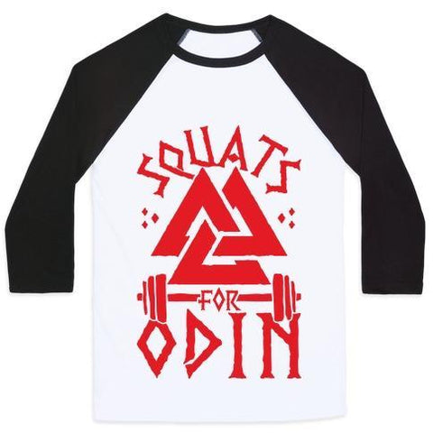 Virgin Teez  Baseball Tee Unisex Classic Baseball Tee / x-small / White/Black SQUATS FOR ODIN UNISEX CLASSIC BASEBALL TEE