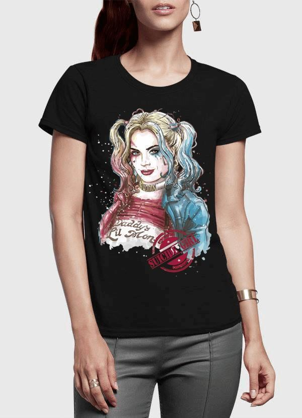 M Nidal Khan Women T-Shirt SMALL / Black Suicide Squad Harley Quin Half Sleeves Women T-shirt