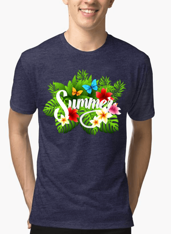 Aneeq Arshad T-shirt SMALL / Navy Summer Time Half Sleeves Melange T-shirt
