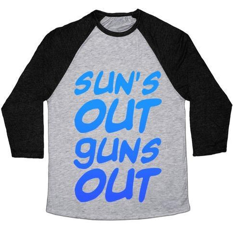 Virgin Teez  Baseball Tee Unisex Tri-Blend Baseball Tee / small / Athletic Gray / Black SUN'S OUT GUNS OUT (BLUE) UNISEX TRI-BLEND BASEBALL TEE