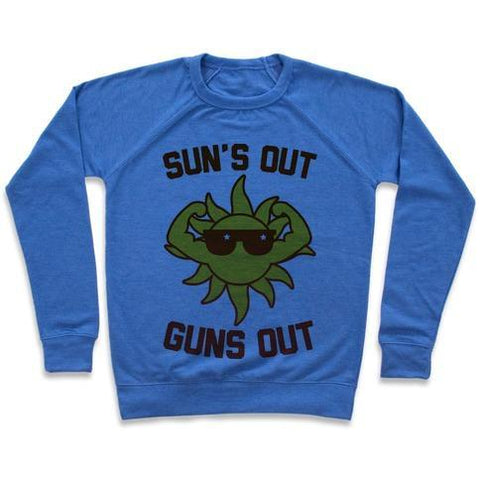 Virgin Teez  Pullover Crewneck Sweatshirt / x-small / Heathered Blue SUN'S OUT GUNS OUT CREWNECK SWEATSHIRT