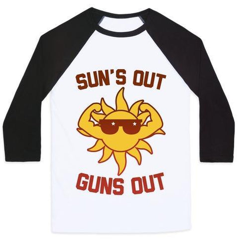 Virgin Teez  Baseball Tee Unisex Classic Baseball Tee / x-small / White/Black SUN'S OUT GUNS OUT UNISEX CLASSIC BASEBALL TEE