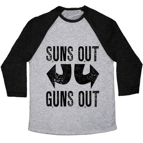 Virgin Teez  Baseball Tee Unisex Tri-Blend Baseball Tee / small / Athletic Gray / Black SUNS OUT, GUNS OUT (TANK) UNISEX TRI-BLEND BASEBALL TEE
