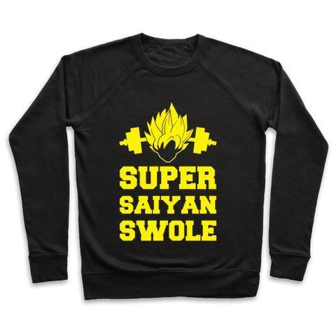 Virgin Teez  Pullover Crewneck Sweatshirt / x-small / Black SUPER SAIYAN SWOLE CREWNECK SWEATSHIRT
