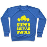 Virgin Teez  Pullover Crewneck Sweatshirt / x-small / Heathered Blue SUPER SAIYAN SWOLE CREWNECK SWEATSHIRT