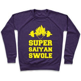Virgin Teez  Pullover Crewneck Sweatshirt / x-small / Purple SUPER SAIYAN SWOLE CREWNECK SWEATSHIRT