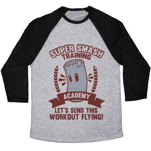 Virgin Teez  Baseball Tee Unisex Tri-Blend Baseball Tee / small / Athletic Gray / Black SUPER SMASH TRAINING ACADEMY UNISEX TRI-BLEND BASEBALL TEE