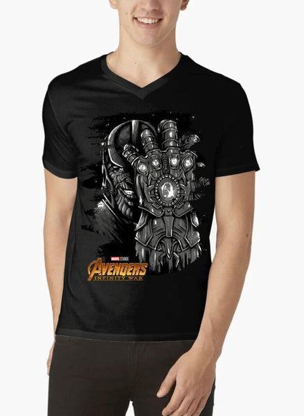 M Nidal Khan T-shirt SMALL / Black Thanos Avengers V-Neck T-shirt