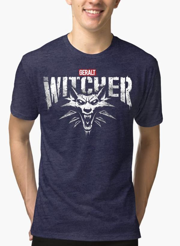 M Nidal Khan T-shirt SMALL / Navy The Witcher Half Sleeves Melange T-shirt
