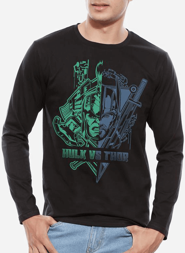 Tipu Sultan T-shirt SMALL / Black Thor Ragnarok - Hulk vs Thor Full Sleeves T-shirt
