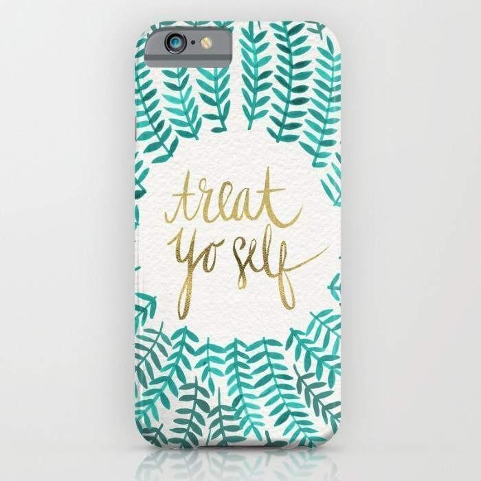 Threadless Mobile Cover Treat Yo Self – Gold & Turquoise Mobile Cover