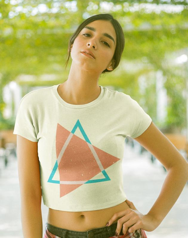 Virgin Teez Crop Top Triangles Pink Women's Crop top Bella+Canvas 6682