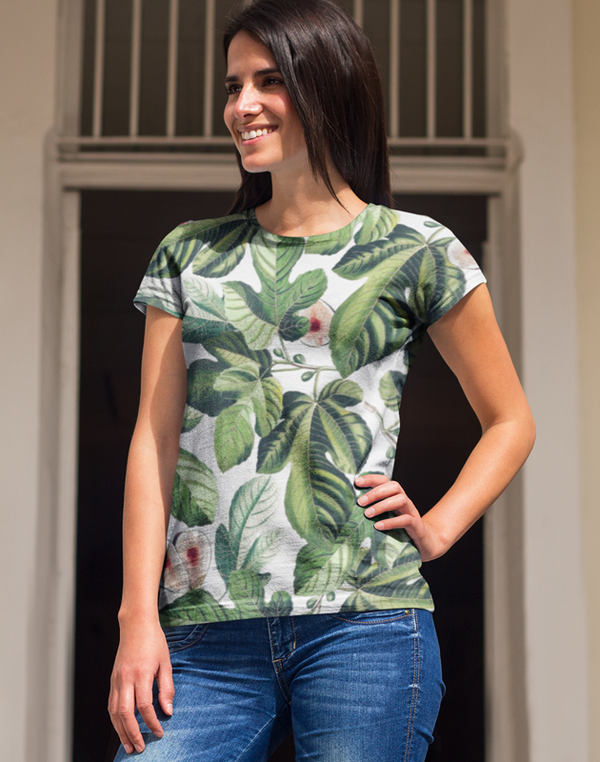 VIRGIN TEEZ Sublimation Women's T-Shirt XS Tropical Greenery Classic Sublimation Women's T-Shirt