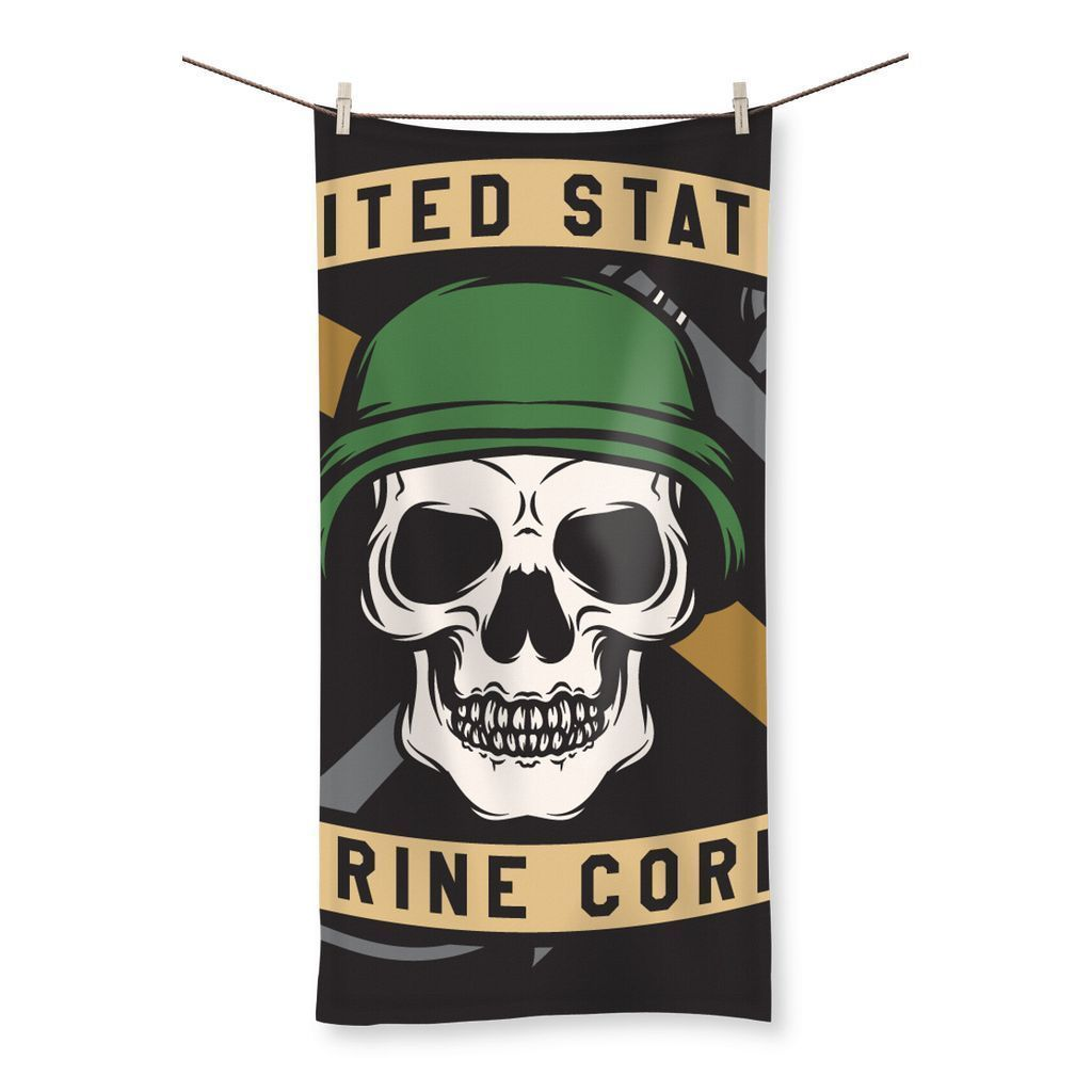 "kite.ly Homeware 19.7""x39.4"" USMC Skull 3 Beach Towel"