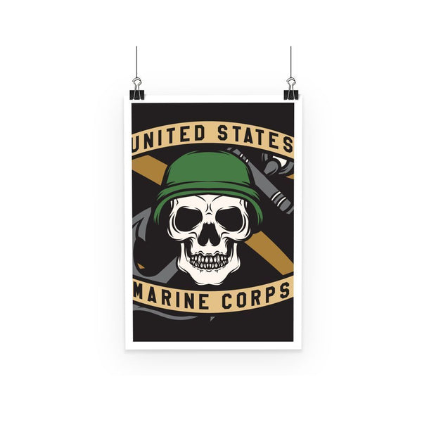 kite.ly Wall Decor A3 USMC Skull 3 Poster