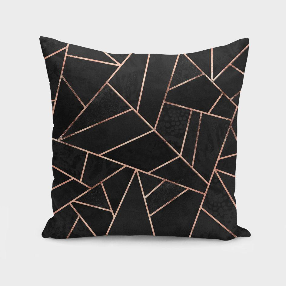 The Pillow pillows Velvet Black & Rose Gold Cushion/Pillow