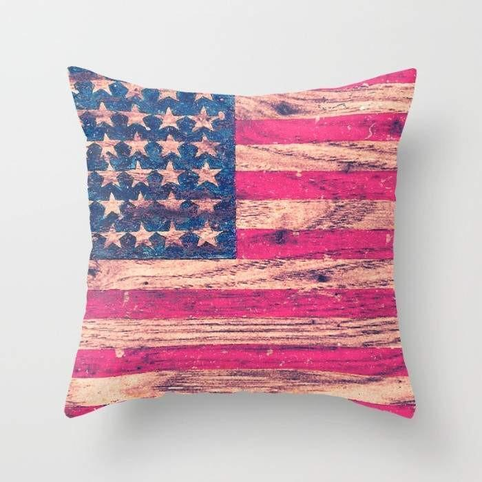 The Pillow pillows Vintage Pink Patriotic American Flag Retro Wood Cushion/Pillow