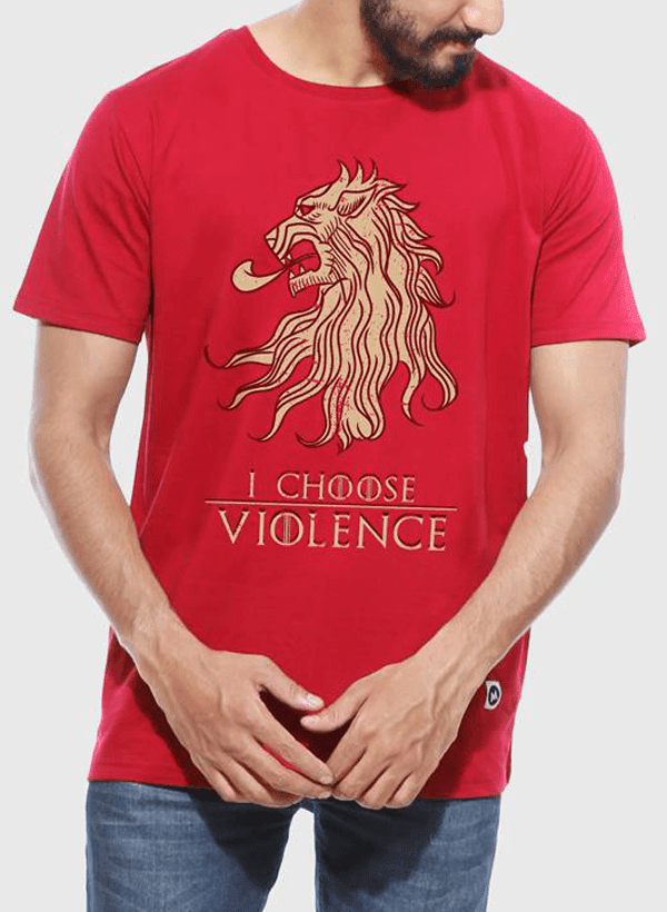 Tipu Sultan T-shirt SMALL / Red Violence GOT Half Sleeves T-shirt
