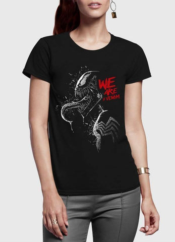 M Nidal Khan Women T-Shirt SMALL / Black We are Venom Half Sleeves Women T-shirt