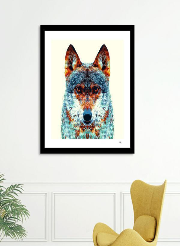 LUVD Framed Art Prints Wolf - Colorful Animals  Frame