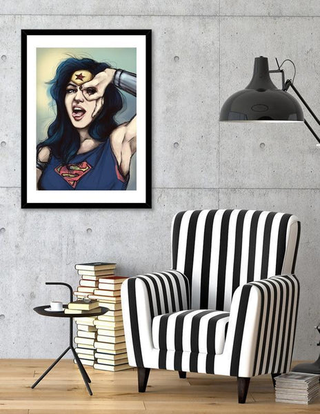 LUVD Framed Art Prints Wonder Woman Cosplay Frame
