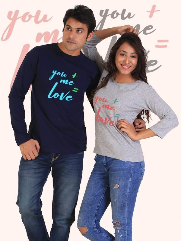 HUM TUM T-SHIRT You + Me = Love Couple Full Sleeves Navy and Gray