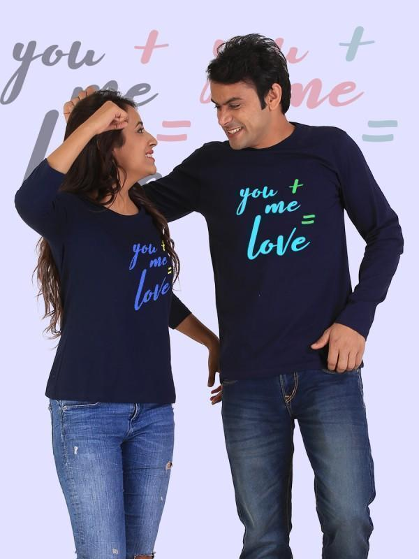 HUM TUM T-SHIRT You + Me = Love Couple Full Sleeves Navy