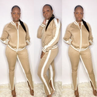 OPEN SHOULDER TRACKSUIT. PANTS WITH ZIPPER BOTTOMS, TAN, BLACK, PINK, WHTE